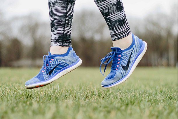 womans blue trainers