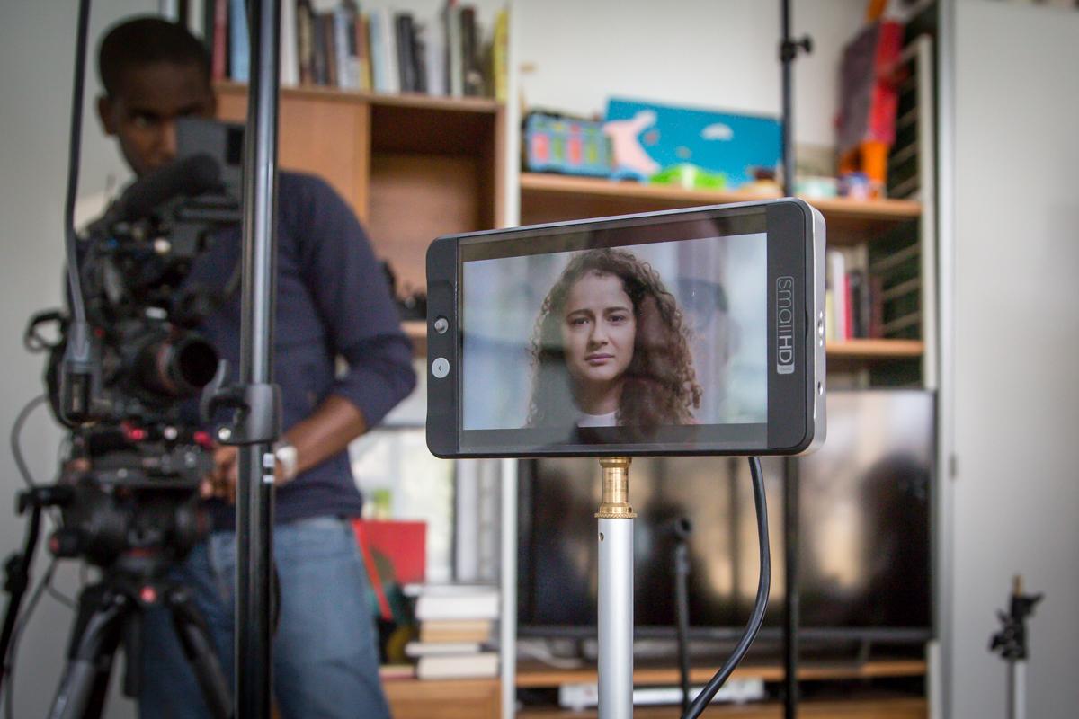 TV monitor and cameraman