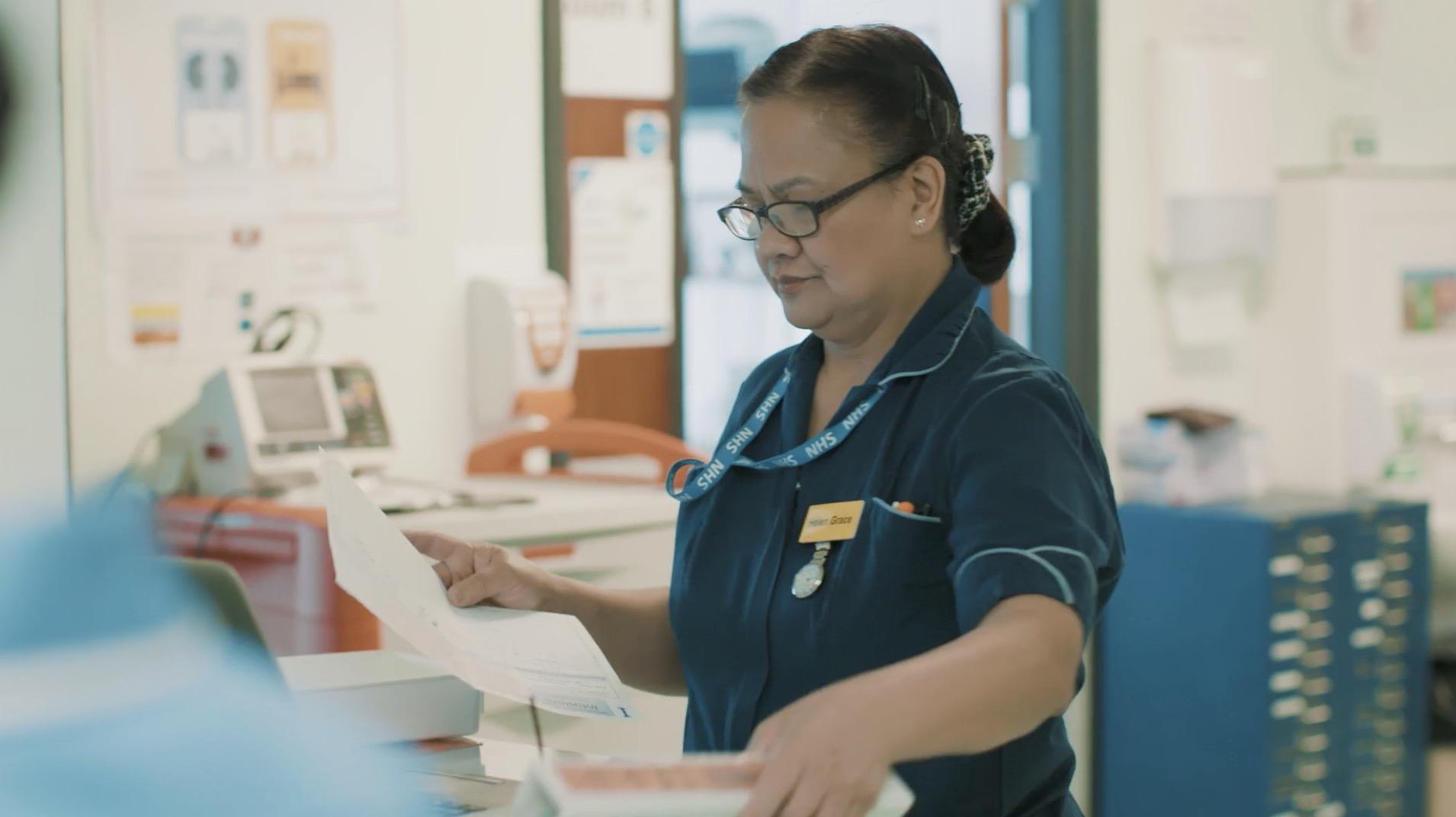 NHS Video screen grab of nurse